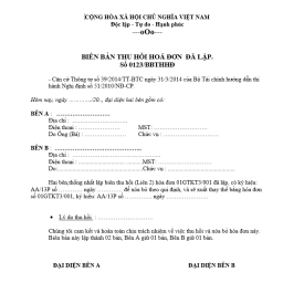 mẫu biên bản thu hồi hóa đơn