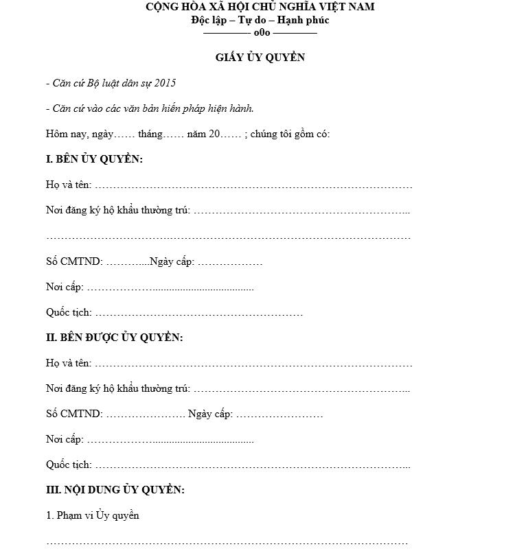 mẫu giấy ủy quyền