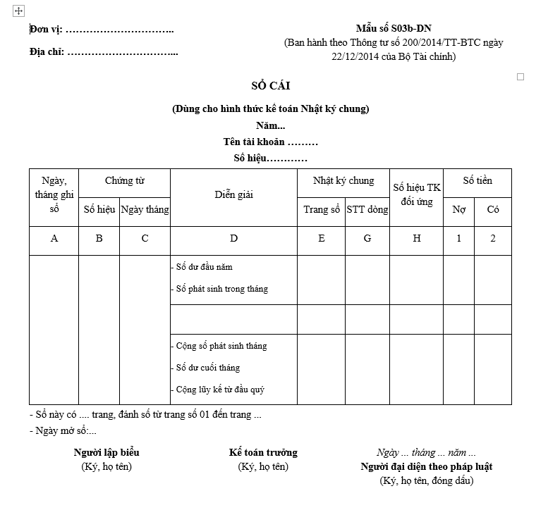 sổ cái dành cho kế toán