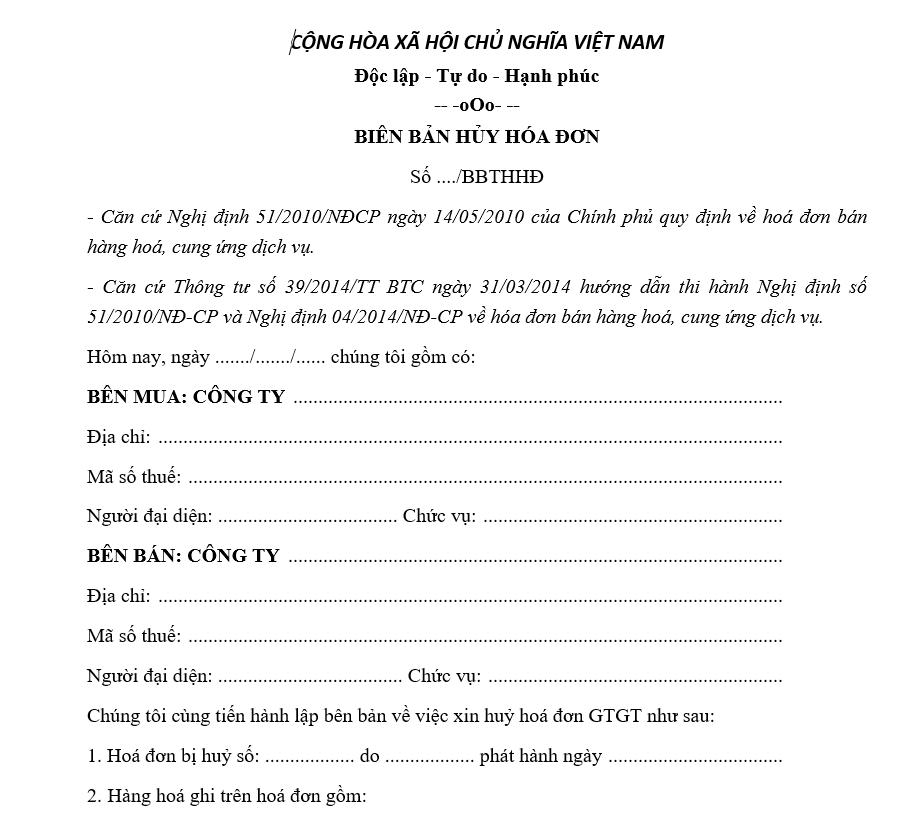 mẫu biên bản hủy hóa đơn