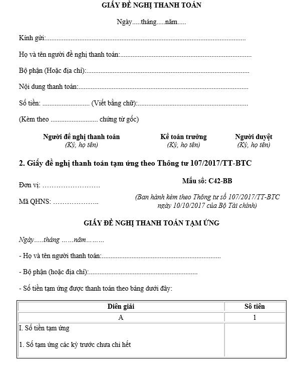 giấy đề nghị thanh toán