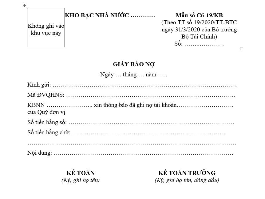 mẫu giấy báo nợ mới nhất
