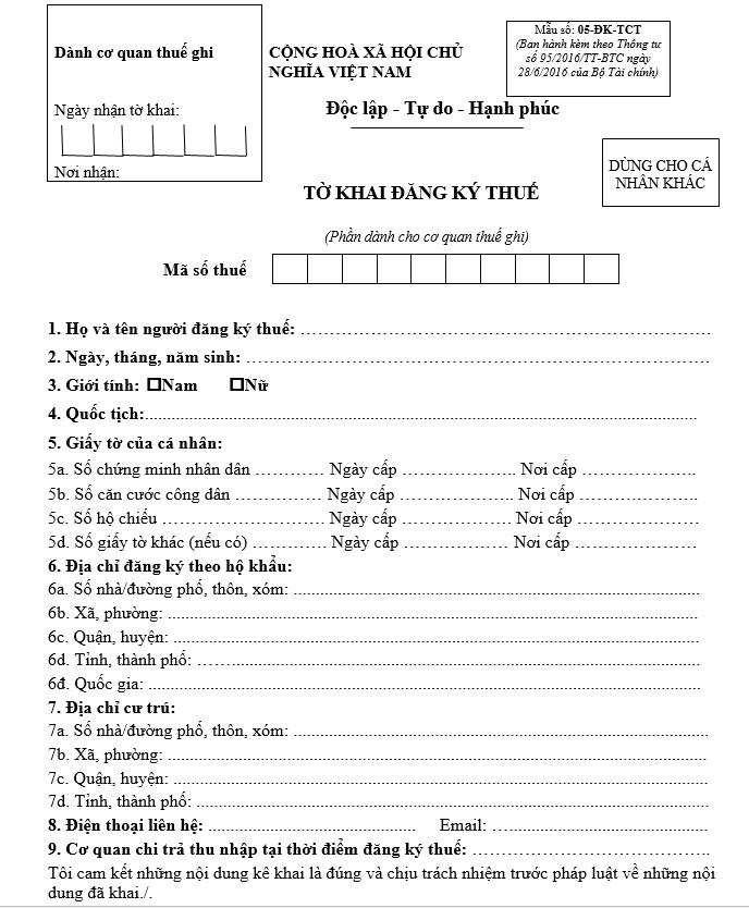 tờ khai thuế thu nhập cá nhân