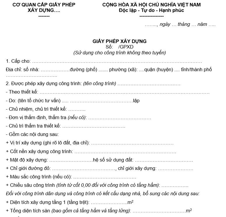 mẫu giấy phép xây dựng mới nhất